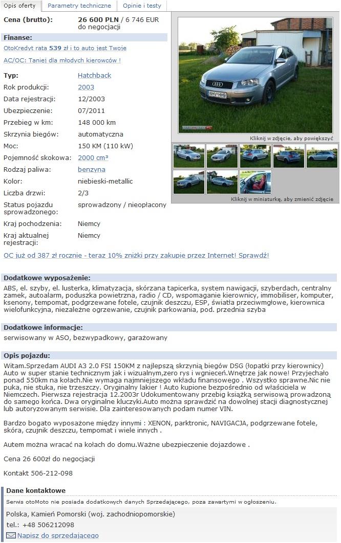 Bezwypadkowynet Audi A3 20 Fsi Dsg Kamień Pomorski 11